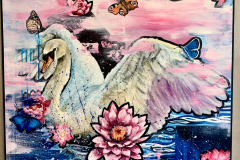 Swan-with-pink-lotus-flowers