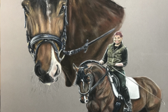 dressage-horse-and-her-rider-pastel-painting